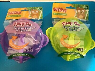 Nuby Baby Easy Go Weaning Bowl and Spoon Set Easy Go Travel X 2