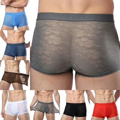 Mens Ice Silk Underwear Ultra-thin Sexy Briefs Shorts Knickers Trunks Breathable