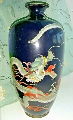 Antique Late 19th Century Japanese Cloisonne Vase with Dragon 9.5 inches high