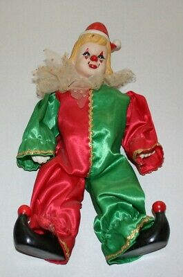 """12"""" Vintage, All Porcelain/Ceramic Clown Doll, Jointed, Satin Garb, Hand Painted"""