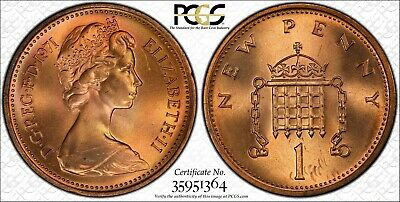 1971 Great Britain New Penny Pcgs Ms66Rd Coin, Great Details!