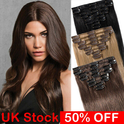 Full Head Clip In Remy Brazilian Human Hair Extensions 100 Real Hair UK Stock W9