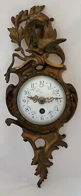 Antique FRENCH ART NOUVEAU SMALL BRONZE FIGURAL CARTEL CLOCK FLORAL FACE