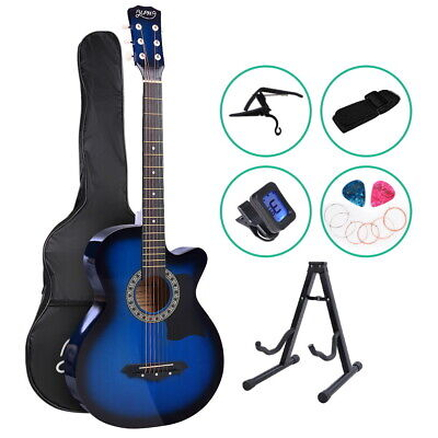 "ALPHA 38"" Inch Wooden Acoustic Guitar Classical Folk Full Size w/ Bag Capo Blue"