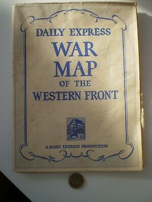 A WW 2 Daily Express War Map of the Western Front Large Format Coloured Wall Map