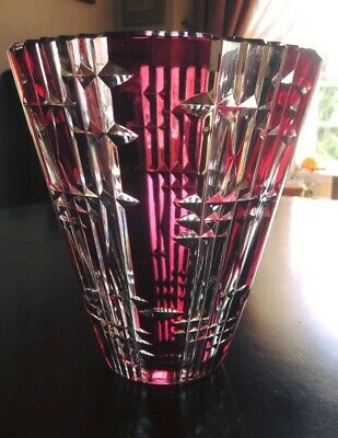 Val St Lambert Art Crystal Glass Vase Etched Signed Cranberry Red