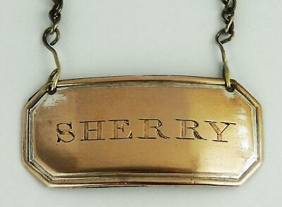 Smart GEORGE III OLD SHEFFIELD PLATE DECANTER BOTTLE LABEL c1800 SHERRY