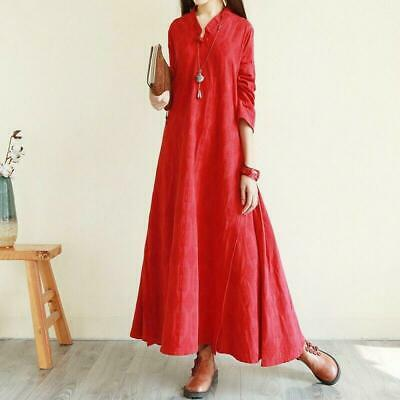 Women Long Maxi Baggy Dress Cotton Linen Plus Size Large Swing Skirt Red OneSize