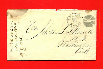 1866 Stampless Cover, Boston Mass Fancy Cancel ***Hon Justin S. Morrill $350