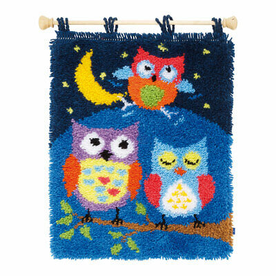 Latch Hook Kit Rug, Owls in the Night  52% Cotton Large Hole Canvas | 43 x 54cm