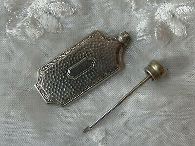 Vintage Hammered Sterling(?) Silver Miniature Flask Shaped Scent/perfume Bottle