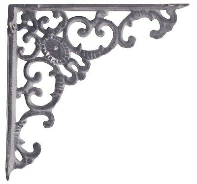 Pair of Antique Styled Cast Iron Shelf Wall Brackets Large Ornate Gray