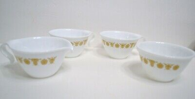 Corelle Gold Butterfly Pattern Hook Handle Cups Two Cups with Cream and Sugar