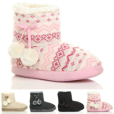 Womens Ladies Winter Pom Pom Fur Lined Comfort Knitted Ankle Slipper Boots Size