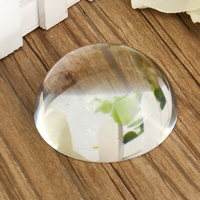 Vintage 80mm Clear Crystal Half Sphere Ball Paper Weight DIY Magnifying