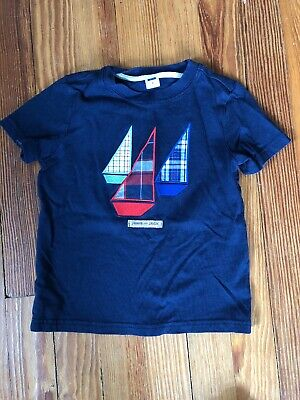 Janie And Jack 3 Sail Boat Tee Navy Blue Red Sailboat T Shirt Embroidered Patch