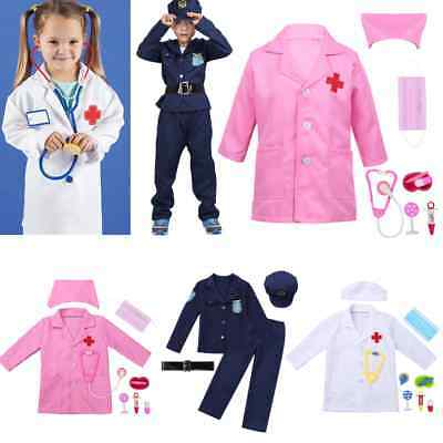 Girls Boys Kids Doctor Costume Nurse Uniform Cosplay Fancy Police Cotton Outfit