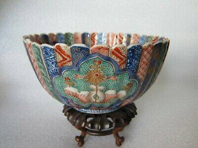 Antique 19C Japanese Meiji Period Imari Hand Painted Scalloped Porcelain Bowl