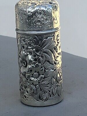 19th Century Frank Whiting Floral Repousse Sterling Silver Perfume Bottle Vanity