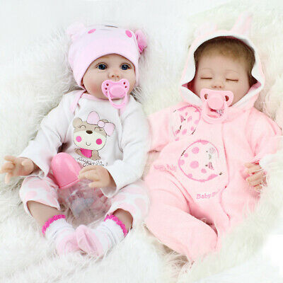 Reborn Dolls Twins Real Baby Doll Newborn Silicone Vinyl Lifelike Girl Dolls