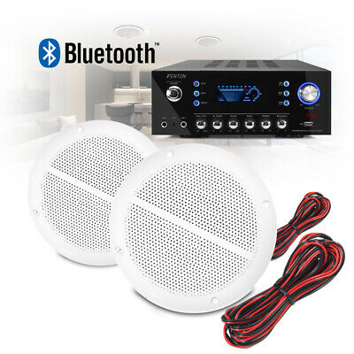"""5"""" Bathroom Kitchen Ceiling Speakers and Bluetooth Amplifier Home Audio System"""