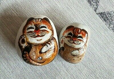 Hand Painted Rock - Meow the Cats in Pair