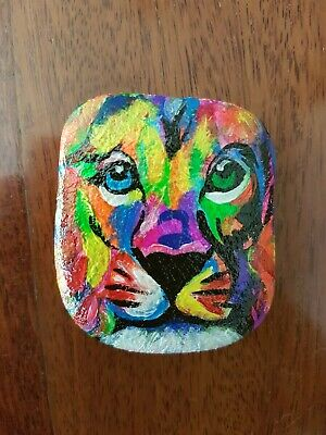 Hand Painted Rock - Rainbow Lion