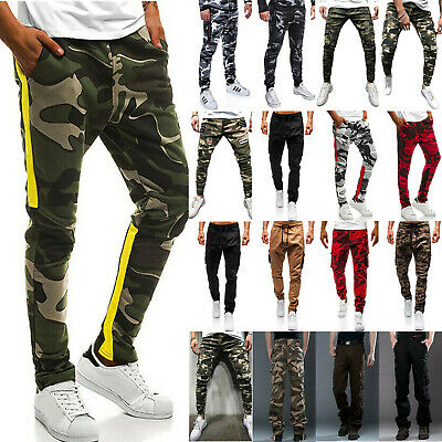 Men Military Cargo Pocket Trousers Slim Fit Camo Army Casual Military Work Pants