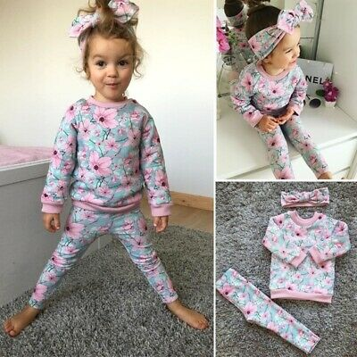 3pcs Newborn Toddler Baby Girl Flower Long Sleeve Tops+Pants Outfits Set Clothes