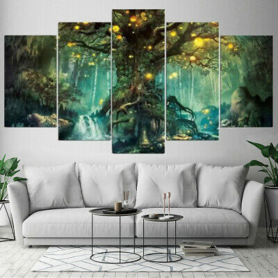 5PCS Tree of Life Canvas Print Large Painting Pictures Wall Art Hanging Deco New