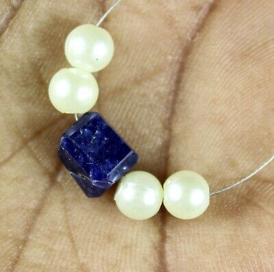 5.65cts Natural Lapis Lazuli Mother Of Pearl Round Nugget Loose Beads 5pcs