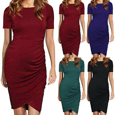 Summer Maternity Ruched Dress Clothes Pregnant Summer Womens Pregnancy Clothes