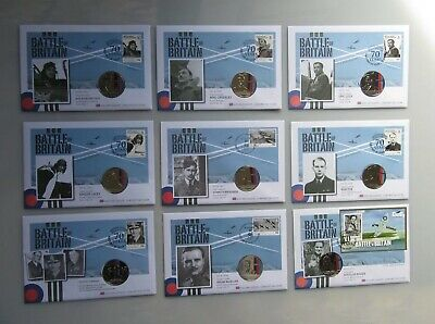 9 x 70th Anniversary Battle of Britain £5 Coin Covers (With Defects) See Pics