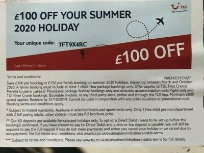 holiday tui travel voucher £100 off summer holiday 2020
