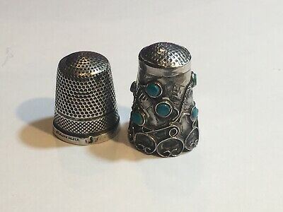 Two Vintage silver Thimbles, Sterling Silver, Turquoise