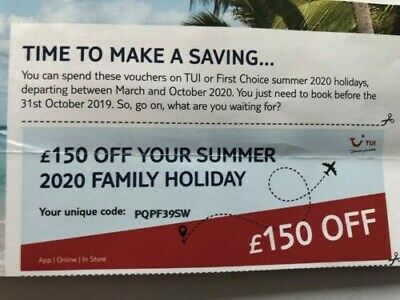 holiday tui voucher £150 family holiday
