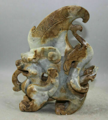 Chinese Exquisite jade Carved dragon cup statue weight 1820g
