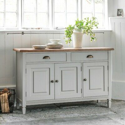 Frank Hudson Bronte Sideboard in Taupe with Oak Top 3 doors 2 drawers CBNF103