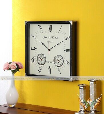 Wooden Large Square Roman Numeral 3 Countries World time Oxford Wall Decor Clock