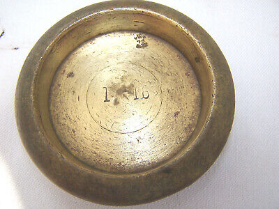 VINTAGE VICTORIAN BRASS PAN WEIGHT 1 lb  WEIGHTS AND MEASURES STAMPED