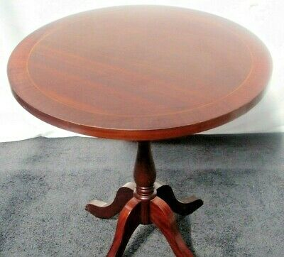Round Wooden Mahogany Side Table with Inlaid Top and Turned Central Column