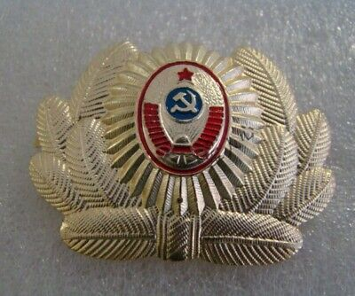 0f489dcf0 SOVIET POLICE OFFICER HAT BADGE original USSR issue for Russian Cop ...