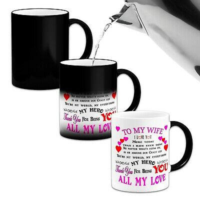 To My Wife I Love You More Today Than I Have ..Novelty Heat Colour Changing Mug