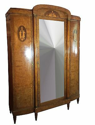 Antique 19th Century French Burr Walnut, Rosewood and Kingwood Armoire