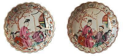 Antique Pair of Mandarin Qianlong period plates chinese 18th century