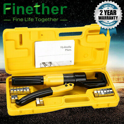 10 Ton Hydraulic Crimper Crimping Tools Wire Battery Cable Lug Terminal 8 Dies Q