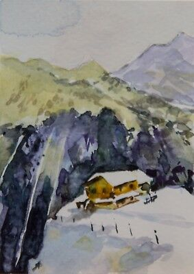 ACEO Original watercolor, winter on the mountains, house, snow, Olena Voitenko
