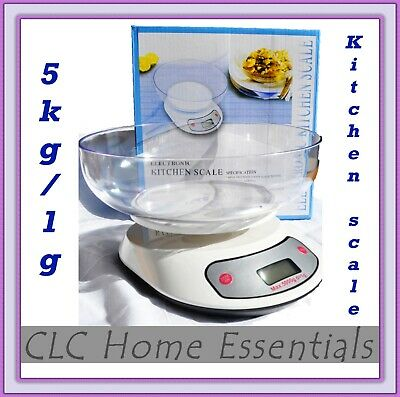 5KG/1g Digital Kitchen Scales Electronic Weight Scale Food Fruit Meat with Bowl
