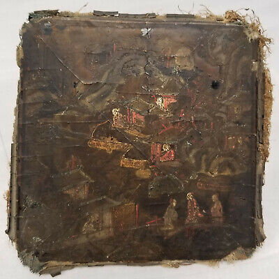 Antique Small Unusual Chinese Japanese Signed Lacquered Panel As Is