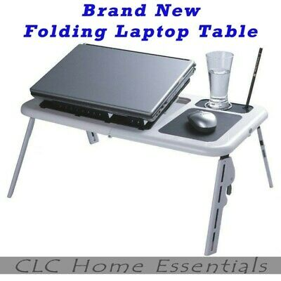 Folding Laptop Lap Desk Table e-Table with USB Cooling Fans Stand TV Tray